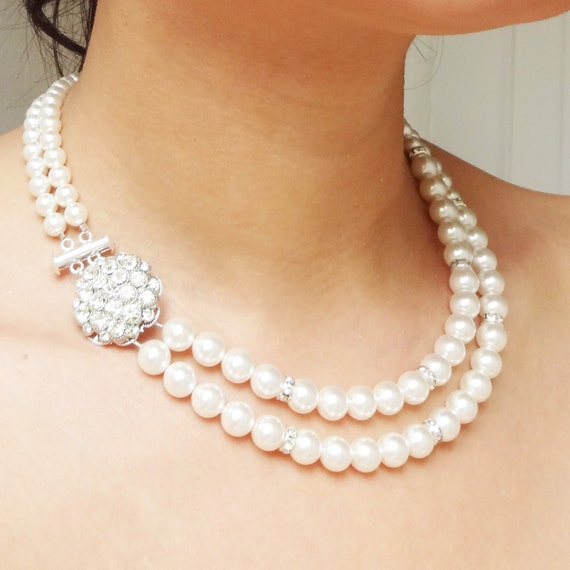 Pearl Wedding Necklace Bridal Jewelry Vintage