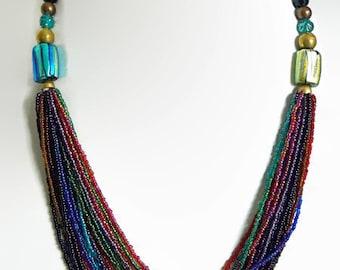 Boho necklace.   Statement Necklace.  Art glass, foil, torsade,  Blue green. Venetian Murano.