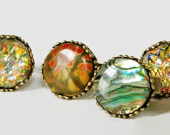 Picasso Jasper ring,  faux fire opal, , adjustable ring. ONE RING