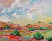 Abstract Landscape Acrylic Painting Giclee Print Impressionist Art Clouds Hills Made To Order Large Fine Art Print Wall Decor Linda Monfort