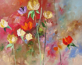 Abstract Floral Acrylic Painting Giclee Print Made To Order Yellow Red Violet Roses Impressionist Fine Art Print Wall Decor Linda Monfort