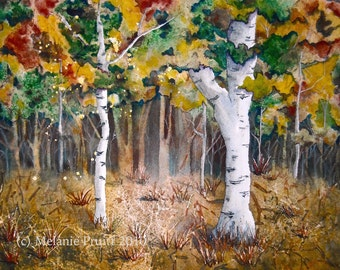 Watercolor ORIGINAL Painting Autumn Enchantment fairy woods trees 12 x 16 by Melanie Pruitt