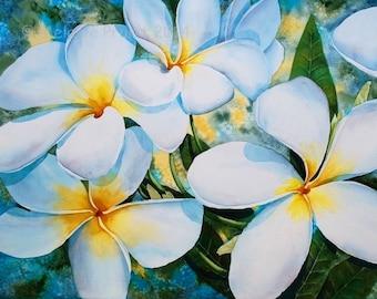 Plumeria 'A'ala ORIGINAL 16x20 Hawaii frangipani flower Watercolor Painting by Melanie Pruitt EBSQ