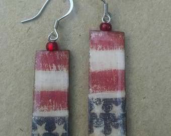 wearables...patriotic american...stars and stripes earrings
