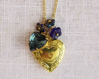 CLEARANCE . stormy skies (bits and pieces sale) // gold heart necklace . locket charm necklace . flower charm necklace