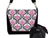 CLEARANCE Digital SLR Camera Bag Dslr Camera Bag Purse Womens Camera Bag Case Zipper Padded   - Deluxe Madison Damask Pink RTS