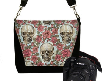 Womens Padded DSLR Camera Bag Slr Camera Bag Purse Messenger Bag  Zipper Pocket  Deluxe Skulls Roses RTS