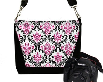 SALE Digital SLR Camera Bag Dslr Camera Bag Purse Womens Camera Bag Case Zipper Padded  Madison Damask Pink Black White  RTS