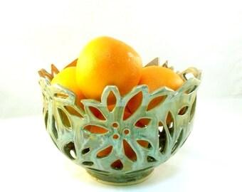 Ceramic Cut Out Art Vessel, Fruit Bowl, Ceramic Colander, Office Decor, Home Decor, Green Vase, Large Art Object, Ceramic Bowl