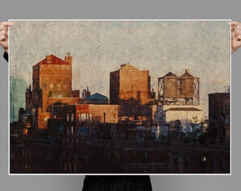 City Scape, Vintage style Industrial Poster, Water Tower, Buildings, Sunset Cityscape Painting,  Digital Art Download Print or Poster
