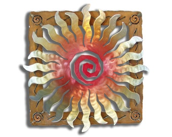 Metal Sun Wall Sculpture - Steel Sunburst Spiral with Rusted Southwest Frame - 24 Point Sunset Swirl finish - 12 Inches