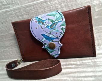Leather Wallet, Phone Case with Wrist Strap & Zipper Pocket, Brown / Blue Birds Print, * SALE * Coupon Codes