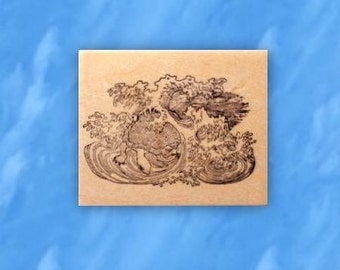 Sea Turtle in Waves mounted rubber stamp, ocean, Japanese, Sweet Grass Stamps No.12