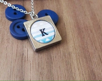 Monogram necklace | Tribal print in blue, white and grey | Gift for her.