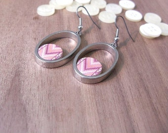 Drop earrings | Dangles earrings | Marsala and peach tribal pattern | Button and pewter jewelry