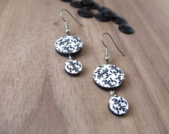 OOAK gift idea | Two buttons dangling earrings | Black flower pattern on white print | Jewelry for her | Gift for a woman, for a mother