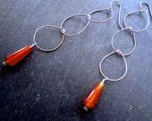 Triple Teadrop Earrings - Carnelian - Oxidized Sterling Silver - Metalifferious - catROCKS - Etsy - Red Orange - Jewelry - Metal - Dangle -