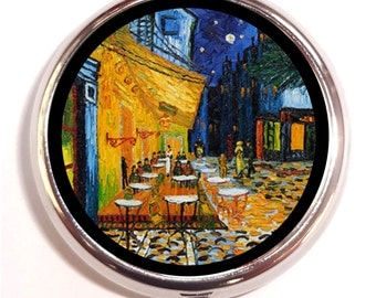 Vincent Van Gogh Cafe Terrace at Night Pill Box case Pillbox Fine Art Impressionist Painting Painter Starry Night Dutch Holds Vitamins