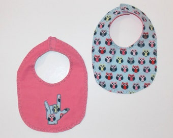 ASL I Love You Hand - Sign Language Baby Bib - Reversible Baby Bib - Owl Baby Bib - ASL Baby Bib - Sign Language Baby Bib - Reversible Bib