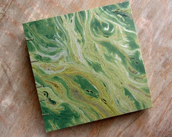 CUSTOM SIZE Guest Book, Green Marble, unlined TORN pages