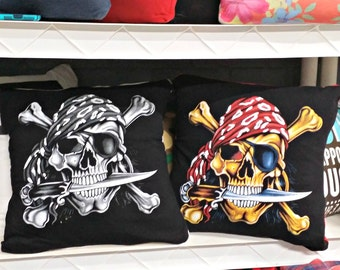 Set of 2 16x16 Pirate Throw Pillows Recycled from Tshirts Skeleton Skull Knife