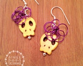 Yellow Sugar Skull with Fuschia Flower Earrings
