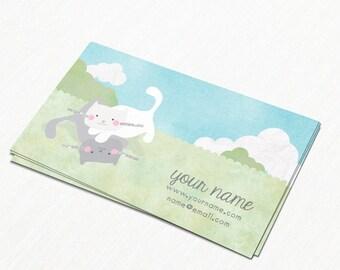 Business Cards  Custom Business Cards  Personalized Business Cards  Business Card Template  Modern Business Cards  Cat Business Card A4