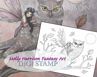 Friendship - Digital Stamp - Printable - Autumn Fairy and Owl - Molly Harrison Fantasy Art - Digistamp Coloring Page - Digi Stamps