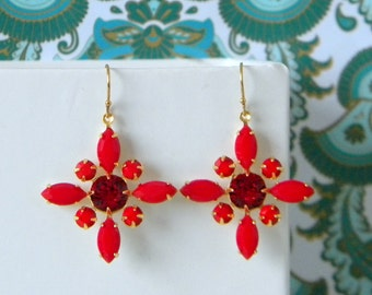 Vintage Victorian Opaque Cherry Red Swarovski Drop Earrings