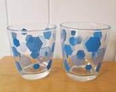 vintage honeycomb glasses blue