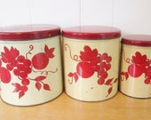vintage red fruit and grape canister set