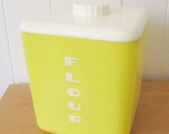 vintage yellow Flour canister Lustroware