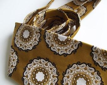 Vintage Mens Necktie - Olive Gold Paisley Inspired Patterned Tie