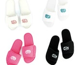 Women's Monogram Slippers   Personalized Spa Shoes for Women   Monogrammed Open Toe Bath Slippers   Monogrammed Bridal Slippers   Slip Ons