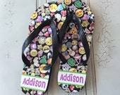 Girls Personalized Flip Flops   Emoji Flip Flops   Cute Personalized Thongs   Personalized Camp Flip Flops   Monogrammed Flip Flops Girls