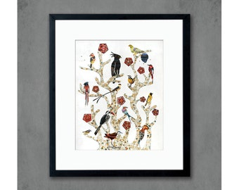 16 x 20 Birds of Africa Tree of Life Print