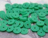 200 pcs. vintage green plastic disk saucer matte sequin beads 6x.5mm - r216