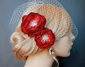Wedding Headpiece, Red Bridal Hair Flowers, Wedding Sash Accessory, Brooch 2 Piece Set - Valentine Red Blooms