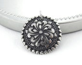 Tudor Rose Pendant Sterling Silver Charm Flower Charm Sterling Silver Pendant 1 Inch Interchangeable Add On Small Silver Charm Only Handmade