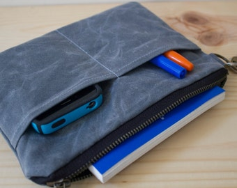 WAXED CANVAS Wrislet, Wallet, Small Bag with with Detachable wrist strap  Handle Optional - Gray - Available in 7 colors