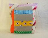 Rainbow Patchwork Linen & Print Handmade Tote Bag