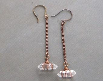 crystal quartz dangle earrings, wire wrapped, quartz crystal long earrings