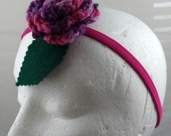Crocheted Rose Headband - Variegated Lavender, Purple, and Hot Pink (SWG-HH-MPTS01)