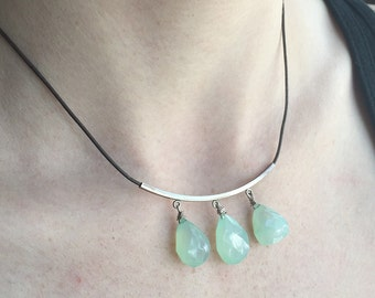 Triple Blue Chalcedony Drop Sterling Silver Leather Necklace