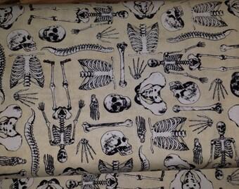 Bone Collector Halloween Skeleton Skull Bones Woven Cotton Fabric Timeless Treasures