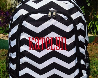 SALE Classic Black and White Chevron Backpack Monogrammed Name or Initials of Your Choice