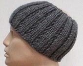 Charcoal grey ribbed headband, ski band, neck warmer, cowl, men's headband, women's headband, headband for dreads, knit headband, snowboard