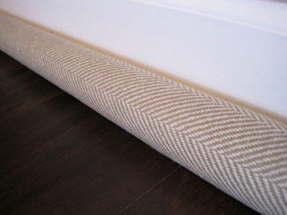 Herringbone door draft stopper tan herringbone door wind for Door wind stopper