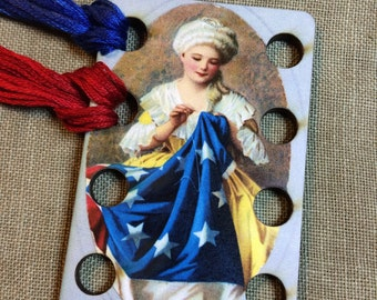Betsy Ross embroidery floss organizer wooden threadkeep