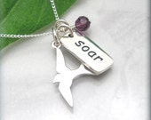 Inspirational Quote Necklace, Graduation Gift, Soar, Personalized Gift, Friendship Necklace, Sterling Silver, Graduation Necklace (SN676)